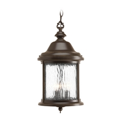 Water Seeded Glass Outdoor Hanging Light Bronze Progress Lighting