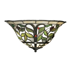 Sconce Wall Light with Multi-Color Glass in Tiffany Bronze Finish