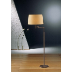 Holtkoetter Modern Swing Arm Lamp with Beige / Cream Shades in Hand-Brushed Old Bronze Finish