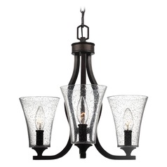Seeded Glass Mini-Chandelier Oil Rubbed Bronze Feiss Lighting