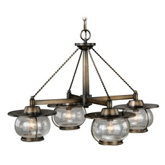 Seeded Glass Chandelier Bronze Vaxcel Lighting