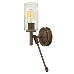 Industrial Seeded Glass Wall Sconce Oiled Bronze by Hinkley Lighting