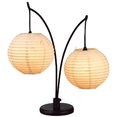 Modern Table Lamp with Beige / Cream Paper Shades in Antique Bronze Finish