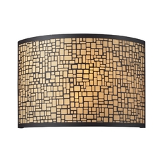 Modern Sconce Wall Light with Amber Glass in Aged Bronze Finish