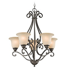 Kichler Chandelier with White Scavo Glass in Olde Bronze Finish