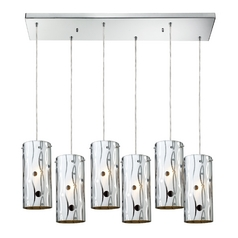 Modern Multi-Light Pendant Light with White Glass and 6-Lights