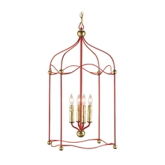 Modern Pendant Light in Lollipop Red / Gold Leaf Finish