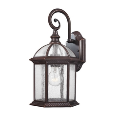 Seeded Glass Outdoor Wall Light Bronze - 15-1/4-Inches Tall