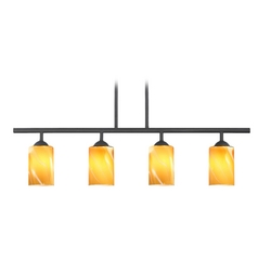 Modern Black Linear Pendant Light with Butterscotch Art Glass 4 Lt