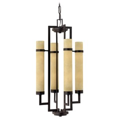 Hinkley 8-Light Chandelier with Beige/Cream Glass in Rustic Iron