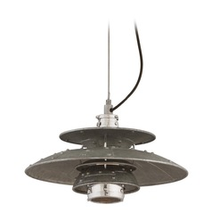 Troy Lighting Idlewild Aviation Gray and Vintage Aluminum LED Pendant Light with Bowl / Dome Shade