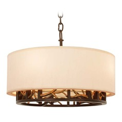 Kalco Hudson Bronze Gold Pendant Light with Drum Shade