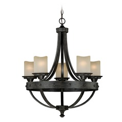Halifax Black Walnut Chandelier by Vaxcel Lighting