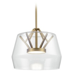 Art Deco Vintage Brass LED Pendant with Clear Shade 3000K 744LM