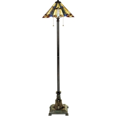 Floor Lamp with Tiffany Glass in Valiant Bronze Finish