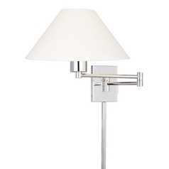 Modern Swing Arm Lamp with White Shade in Chrome Finish