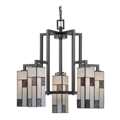 Chandelier with Art Glass in Charcoal Finish