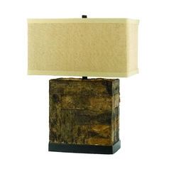 Table Lamp with Beige / Cream Shade in Natural Finish