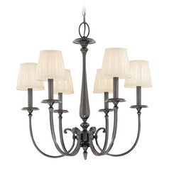 Chandelier with White Shades in Antique Nickel Finish