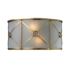 Sconce Wall Light with Beige / Cream Glass in Brushed Brass Finish