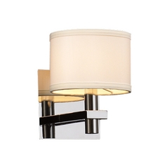 Modern Sconce Wall Light with White Shade in Polished Chrome Finish