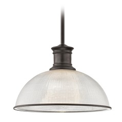 Prismatic Glass Bronze Pendant Light 13.13-Inch Wide