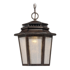 LED Outdoor Hanging Light with Clear Glass in Iron Oxide Finish