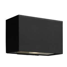 Modern Outdoor Wall Light with White Glass in Satin Black Finish