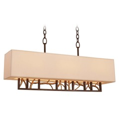 Kalco Hudson Bronze Gold Island Light with Rectangle Shade