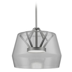 Art Deco Brushed Nickel LED Pendant with Smoked Shade 3000K 744LM