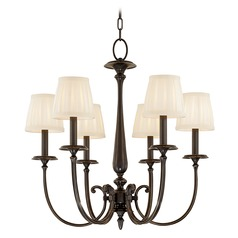 Chandelier with White Shades in Old Bronze Finish