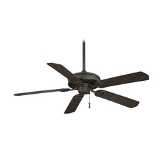 54-Inch Ceiling Fan Without Light in Black Iron with Brushed Nickel Accents Finish