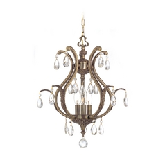 Crystal Pendant Light in Antique Brass Finish