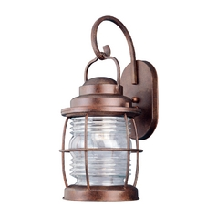 Outdoor Wall Light with Clear Glass in Gilded Copper Finish
