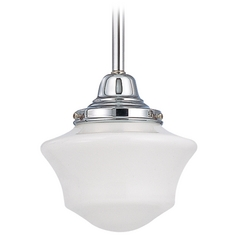 6-Inch Retro Style Schoolhouse Mini-Pendant Light in Chrome Finish