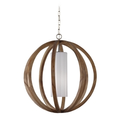 Feiss Lighting Allier Light Wood / Brushed Steel Pendant Light with Cylindrical Shade