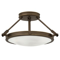 Industrial Light Oiled Bronze LED Semi-Flushmount Light by Hinkley Lighting