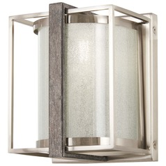 Minka Lavery Brushed Nickel with Shale Wood Sconce