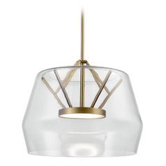 Art Deco Vintage Brass LED Pendant with Clear Shade 3000K 1550LM