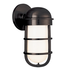 Nautical Sconce with White Glass in Old Bronze Finish