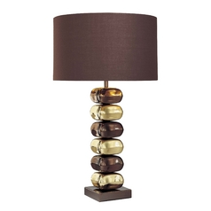 Modern Table Lamp with Brown Tones Shade in Chocolate Chrome/brass Finish