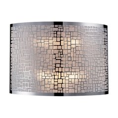 Modern Sconce Wall Light with White Glass in Polished Stainless Steel Finish