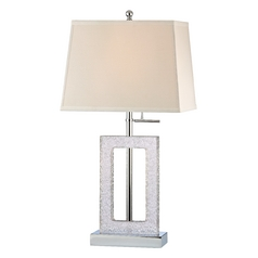 Modern Table Lamp in Chrome/clear Ripple Texture Finish