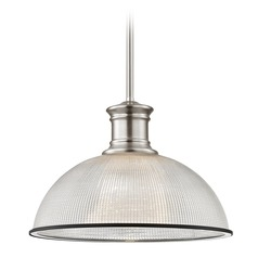 Industrial Pendant Light Prismatic Glass Black / Nickel 13.13-Inch Wide