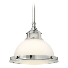 Pendant Light with White Glass in Chrome Finish