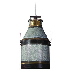 Kenroy Home Lighting Cudahy Galvanized Iron with Bronze Accents Pendant Light with Cylindrical