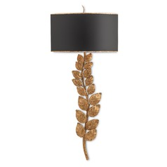 Currey and Company Birdsong Textured Gold Leaf/satin Black Sconce