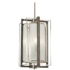 Minka Lavery Brushed Nickel with Shale Wood Pendant Light with Cylindrical Shade
