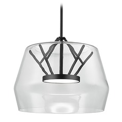 Art Deco Black LED Pendant with Clear Shade 3000K 1550LM