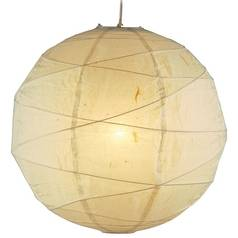 Modern Pendant Light with Beige / Cream Paper Shade in Natural Finish